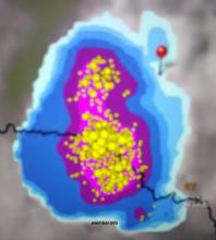 خارطة انتشار السحب الغزيرة في ولاية البراكنه عند الساعة التاسعة والنصف من ليل الخميس (توجد الإشارة عند مدينة ألاكـ)
