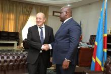 الرئيس الكونغولي فيليكس تشيسكدي ووزير الخارجية الفرنسي جان إيف لودريان