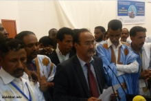 نقيب الصحفيين الموريتانيين محمد سالم ولد داداه خلال حديثه بعيد فوزه في مؤتمر النقابة مايو الماضي (الأخبار - أرشيف)