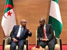 وزبر خارجية الجزائر عبد القادر مساهل ونظيره النيجيري جيوفري أونييما.