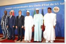 قادة دول الساحل الخمس والرئيس الفرنسي إيمانويل ماكرون.
