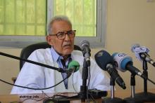 رئيس حزب تكتل القوى الديمقراطية أحمد ولد داداه خلال مؤتمر صحفي سابق (الأخبار - أرشيف)