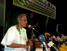 رئيس حزب التكتل خلال مهرجان مساء اليوم الخميس بدار الشباب القديمة في نواكشوط (الأخبار)