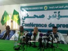 قادة المنتدى خلال المؤتمر الصحفي ظهر اليوم (الأخبار)