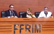 مديرة تلفزيون الموريتانية خلال المؤتمر الصحفي مساء اليوم في مقر الاتحادية الموريتانية لكرة القدم (الأخبار)