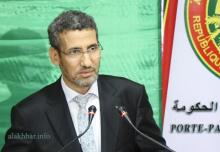 وزير المالية محمد الأمين ولد الذهبي خلال مؤتمر صحفي بداية سبتمبر الماضي (الأخبار)