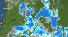 خارطة توزع الامطار عند الساعة 16:20 من يوم 11 سبتمبر 2018، الإشارة عند ألاك