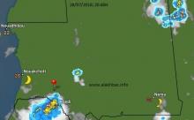 توزع السحب فى حدود الساعة التاسعة من مساء اليوم 28 يوليو 2018، الإشارة عند مدينة ألاك