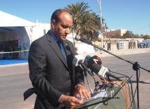 رئيس سلطة منطقة انواذيبو الحرة محمد ولد الداف خلال خطابه في افتتاح منتدى الاستثمار اليوم (الأخبار)