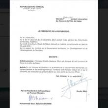المرسوم الصادر عن وزارة الإدارة الترابية السنغالية.