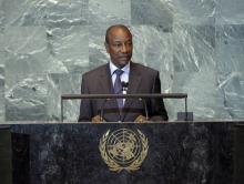 ألفا كوندي رئيس الاتحاد الإفريقي في خطاب أمام الأمم المتحدة.