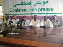 قادة منتدى المعارضة خلال مؤتمر صحفي اليوم السبت بنواكشوط (الأخبار)