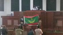 أنموذج للعلم الجديد خلال استعراض وزير الدفاع له أمام النواب يوم 08 مارس الماضي (الأخبار - أرشيف)