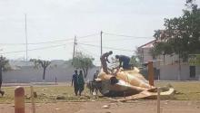 المروحية بعد سقوطها.