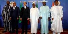 قادة مجموعة دول الساحل والرئيس الفرنسي خلال قمة سابقة بباماكو.