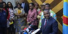 رئيس لجنة الانتخابات الكونغولية كورني نانغا خلال مؤتمر صحفي سابق بالعاصمة كينشاسا.