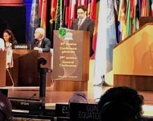 وزير الثقافة الموريتاني محمد الأمين ولد الشيخ خلال إلقاء خطابه بالدورة التاسعة والثلاثين لليونيسكو بباريس ـ (AMI)
