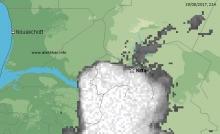 خارطة توزع الامطار مساء اليوم 19 أغسطس عند الساعة التاسعة