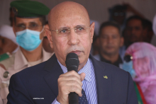 الرئيس محمد ولد الغزواني خلال تصريحه الاثنين في الزويرات (الأخبار)