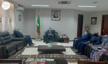وزير الخارجية إسماعيل ولد الشيخ أحمد خلال لقائه اليوم مع السفير الفلسطيني ماجد بن محمد هديب (وما)