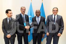 وزيرا الاقتصاد والصناعة، والتنمية الريفية مع رئيس الصندوق جلبير انغبو