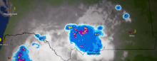 خارطة انتشار السحب عند الساعة 19:55 مساء اليوم وتوجد الإشارة عند مدينة كيفة عاصمة ولاية العصابة