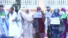بعض الشيوخ خلال الاحتجاج أمام مبنى المجلس بالعاصمة نواكشوط.