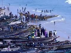 قوارب صيد على شاطئ المحيط في موريتانيا