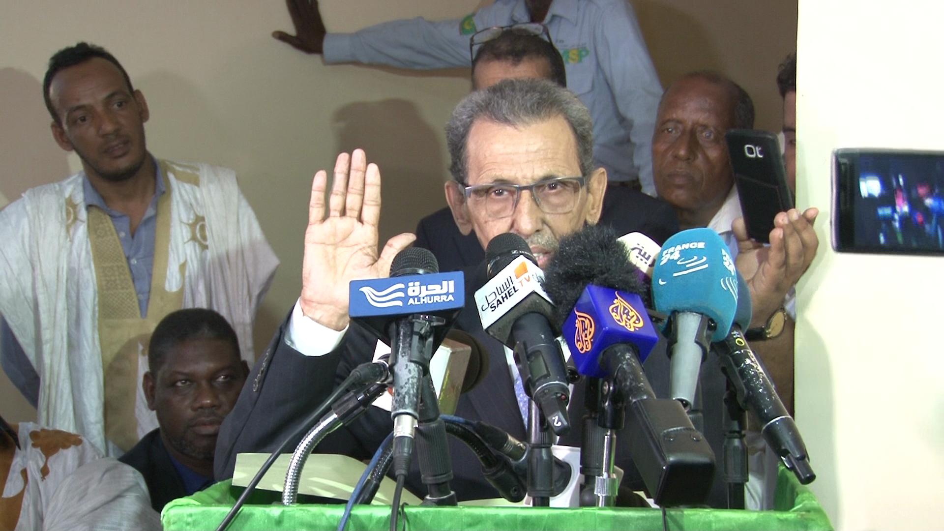 رئيس اللجنة المستقلة للانتخابات محمد فال ولد بلال خلال مؤتمر صحفي سابق (الأخبار - أرشيف)